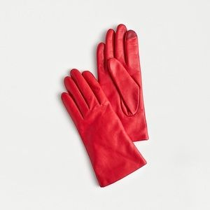 J.Crew Red Leather Gloves
